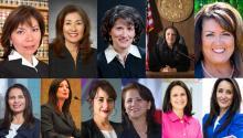 """(Top) Judge Patricia Garcia, Judge Yvonne Gonalez Rogers, Judge Elizabeth G. Macias, Judge Connie R. Quinones. (Below) Amparo Monique , Lesley Briones, Natalia """"Nata"""" Cornelio , Julia Maldonado, Ana Martinez , Veronica Rivas-Milloy."""