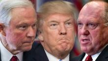 Attorney General Jeff Sessions, President Donald Trump, and Acting Immigration and Customs Enforcement Director Thomas Homan. Photo: EFE