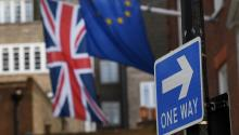 The Union flag and EU flag in London, Britain on Mar. 21, 2017. EPA/ANDY RAIN