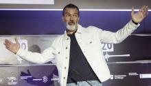 Spanish actor Antonio Banderas, who suffered a heart attack two months ago, tells a press conference at the Malaga Spanish Film Festival on March 25, where he won a lifelong career award, that he is well and that the best of his career is yet to come. EFE/Daniel Perez