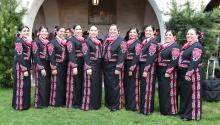 The members of the Mariachi Las Alteñas from San Antonio, Texas, during the Festival of Women Mariachi held in San Gabriel Mission, California, United States on Mar. 25, 2017. EFE/IVAN MEJIA