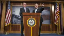 Chairman of the Senate Select Committee on Intelligence Republican Richard Burr (R) and ranking member of the Senate Select Committee on Intelligence Democrat Mark Warner (L) hold a news conference on the committee's investigation into Russian interference in the 2016 presidential election, on Capitol Hill in Washington, DC, USA, 29 March 2017. EPA/MICHAEL REYNOLDS