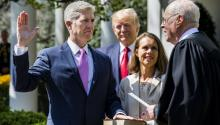 Following a bitter confirmation fight, Neil Gorsuch was sworn in as America's 113th Supreme Court Justice   EPA/JIM LO SCALZO