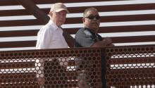 US Attorney General Jeff Sessions (L) visits the Mariposa border in Nogales, Arizona, United States, 11 April 2017, as part of his visit to the border between Mexico and the US. EFE/Gary Williams