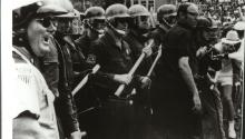Photo provided by the University of Florida (UF) showing then Catholic priest Michael Gannon (2R), trying to mediate between police and students during a violent protest in Gainesville, Florida, United States on May 1972. EFE/UF
