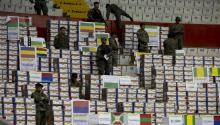 Members of Ecuadorian military forces guard electoral packages of the second round of the last presidential elections in Quito, Ecuador, on 18 April 2017. EFE/Jose Jacome
