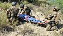Laredo Sector Border Patrol agents simulate a rescue during a drill held in Laredo, Texas, United States on Apr. 20, 2017. EFE/Alex Segura