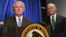 US Attorney General Jeff Sessions speaks next to US Homeland Security Secretary John Kelly during a press conference in El Paso, Texas, United States, Apr. 20, 2017. EFE/Luis Pablo Hernandez
