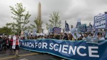 Tens of thousands of protestors walk along Constitution Avenue during the March for Science in Washington, DC, USA, 22 April 2017. EPA/JIM LO SCALZO