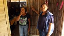 Neida Zambrano (l) and the head of the local United Nations project to adapt to climate change, Diana Diaz (r), give a tour of a new house adapted to global warming in the Colombian town of El Torno on April 22, 2017. The town was seriously affected in 2010 by flooding, which destroyed crops and homes, but today the community of 600 residents is an example of resilience and sustainable adaptation to climate change. EFE/Mauricio Dueñas Castañeda