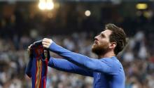 FC Barcelona's Argentinian striker Lionel Messi jubilates the 3-2-victory against Real Madrid during the Liga Primera Division 33rd round match between Real Madrid and FC Barcelona at the Santiago Bernabeu stadium in Madrid, Spain, 23 April 2017. EPA/Juan Carlos Hidalgo