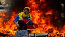 A woman is seen during a demonstration against the Venezuelan government in Caracas, Venezuela, Apr. 24, 2017. EFE/MIGUEL GUTIERREZ