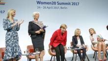 President Donald J. Trump's assisant and daughter Ivanka Trump, Managing Director of the International Monetary Fund (IMF) Christine Lagarde, German Chancellor Angela Merkel, moderator Miriam Meckel and Dutch Queen Maxima during a panel discussion 'Inspiring women: Scaling Up Women's Entrepreneurship' at the W20 Summit in Berlin, Germany, Apr. 25, 2017. EPA/CARSTEN KOALL
