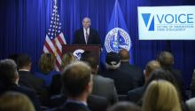 US Secretary of Homeland Security John Kelly announces the creation of an office to help victims of crimes committed by undocumented immigrants during a press conference at the Homeland Security Department in Washington DC, United States, 26 April 2017. EFE/Lenin Nolly
