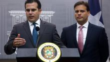 Puerto Rico Gov. Ricardo Rossello Nevares (L), next to representative to the Fiscal Oversight Boar (JSF), Elias Sanchez (R), during a press conference at La Fortaleza Governor residence, in San Juan, Puerto Rico, May 3, 2017. EFE/Thais LLorca