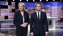 Pro-EU centrist Emmanuel Macron and far-right leader Marine Le Pen face off in a final televised debate on 03 May that will showcase their starkly different visions of France's future ahead of this weekend's presidential election run-off. EPA/ERIC FEFERBERG / POOL