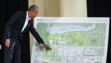 Former US President Barack Obama points out features of the Obama Presidential Center as he participates in a roundtable discussion and community meeting at the South Shore Cultural Center in Chicago, Illinois, USA, 03 May 2017. EPA/TANNEN MAURY