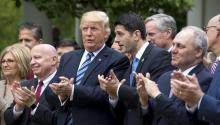 US President Donald J. Trump (C-L) and Republican Speaker of the House from Wisconsin Paul Ryan (C-R), along with GOP lawmakers, prepare to speak after the House voted to repeal and replace Obamacare with a Republican version of the health care law in the Rose Garden of the White House in Washington, DC, USA, 04 May 2017. EPA/JIM LO SCALZO