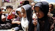Archive image shows children waiting for food rations in Sanaa, Yemen, Apr.13, 2017. The UN World Food Program (WFP) reported that 9 M people of Yemen's 24 million are starving amid an ongoing brutal conflict between Saudi-backed Yemeni government and Houthi rebels, that has killed 49,000 Yemenis. EPA/YAHYA ARHAB