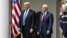 US President Donald J. Trump and Vice President Mike Pence (R) arrive at an event where Trump later signed an executive order that the White House says 'promotes free speech and religious liberty' and participates in a National Day of Prayer event in the Rose Garden of the White House in Washington, DC, USA, 04 May 2017. EPA/JIM LO SCALZO