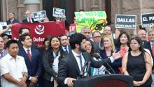 Lawmakers representing the cities of Austin, El Paso and Dallas, and representatives for Houston and San Antonio, during a press conference before the Texas capitol, in Austin, Texas, United States on May 16, 2017. EFE/ALEX SEGURA