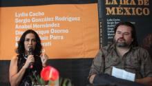 "Investigative journalists Lydia Cacho (L), and Enrique Osorno, during the presentation of a book on widespread impunity in the Aztec nation, ""La ira de Mexico"" (Mexico's Ire), in Mexico City, Mexico on May 17, 2017. EFE/Sashenka Gutierrez"