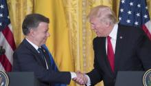 US President Donald J. Trump (R) shakes hands with President of Colombia Juan Manuel Santos (L) during a joint news conference in the East Room of the White House in Washington, DC, USA, 18 May 2017. EPA/MICHAEL REYNOLDS