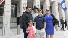 The family of Liliana Cruz protest her pending deportation outside the Immigration and Customs Enforcement headquarters, in Washington, DC, United States on May 23, 2017. EFE/LENIN NOLLY