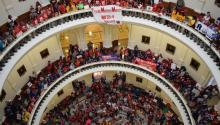 "Demonstrators gather at Texas' Capitol, to protest a recently-passed law prohibiting ""sanctuary cities"" in the state, in Austin, United States, May 29, 2017. EFE/Alex Segura"
