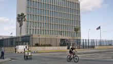the US embassy in Havana, Cuba on Nov. 8, 2016. EFE/Ernesto Mastrascusa