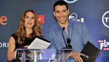 Mexican actress Kate del Castillo (L) and Spanish actor Miguel Angel Silvestre present the candidacies for the Platino Awards at the Beverly Hilton hotel in Los Angeles, California, United States, May 31, 2017. EFE/Jerod Harris