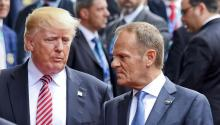 Donald Trump and Donald Tusk speaking at the G7 Summit in Taormina, Italy, on May 26, 2017. EPA/CIRO FUSCO
