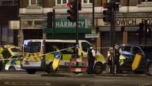 Police units at London Bridge after reports of a incident involving a van hitting pedestrian on London Bridge, Central London, Britain, 04 June 2017. EPA/WILL OLIVER
