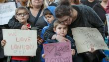 Supporters hold signs of condolence for the victims of the London attacks, outside the County Hotel where Britain's Labor Party leader Jeremy Corbyn is delivering a campaign speech in Carlisle, Britain, 04 June 2017. EPA/ROBERT PERRY