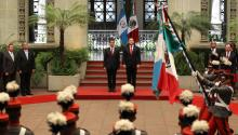 Mexican President Enrique Peña Nieto (L), and his Guatemalan counterpart Jimmy Morales (R), during a ceremony at the National Palace of Culture, in Guatemala City, Guatemala on Jun. 6, 2017. EFE/Esteban Biba