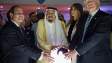 US President Donald J. Trump, First Lady Melania Trump, King Salman bin Abdulaziz al-Saud of Saudi Arabia and Egyptian President Abdel Fattah al-Sisi  opening the World Center for Countering Extremist Thought in Riyadh, Saudi Arabia, 21 May 2017. EPA/SAUDI PRESS AGENCY HANDOUT