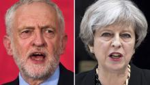 A combo picture shows (L) Labour Party leader Jeremy Corbyn delivering a speech on his party's plans for negotiating Brexit during a campaign stop in Basildon, Essex, Britain, 01 June 2017, and (R) Prime Minister Theresa May delivers a statement on the previous night's terrorist incident, at Downing Street, in London, Britain, 04 June 2017. EPA/WILL OLIVER