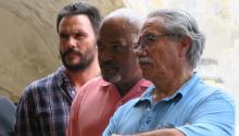 Actors Edward James Olmos (R), Laurence Fishburne (C) and Juan Pablo Raba during a press conference in San Juan, Puerto Rico, June 8, 2017. EFE/Jorge Muñiz