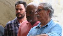 Actors Edward James Olmos (R), Laurence Fishburne (C) and Juan Pablo Raba during a press conference in San Juan, Puerto Rico, June 8, 2017. EFE/Jorge Muñiz