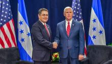 US Vice President Mike Pence shakes hands with Honduran President Juan Orlando Hernandez (L) during the opening of the Conference on Prosperity and Security in Central America in Miami, Florida, United States, 15 June 2017. EFE/Giorgio Viera