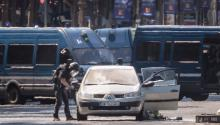 A file picture showing a police operation under way on the Champs Elysees after a car collided with a police vehicle in Paris, France, June 19, 2017. EPA/CHRISTOPHE PETIT TESSON