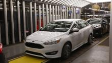 File photo dated Jan. 7, 2015 showing a Ford Focus, at a factory in Flat Rock, Michigan, United States. EFE/JEFF KOWALSKY