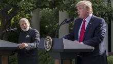 US President Donald J. Trump (R), with Indian Prime Minister Narendra Modi (L), delivers remarks during a ceremony in the Rose Garden of the White House in Washington, DC, USA, 26 June 2017. EPA/SHAWN THEW