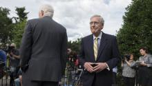 Senate Majority Leader Republican Mitch McConnell (R) turns away from the microphones beside Republican Senator from Texas John Cornyn (L) after speaking to members of the news media outside the West Wing of the White House following a meeting to discuss healthcare legislation with Senate Republicans and US President Donald J. Trump, in Washington, DC, USA, 27 June 2017. EPA/MICHAEL REYNOLDS