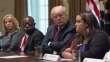 US President Donald J. Trump (C) listens as he meets with immigration crime victims to urge passage of House legislation to save American lives, in the Cabinet Room at the White House, Washington, DC, USA, 28 June 2017. EPA/Molly Riley / POOL