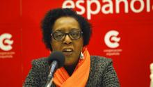 Network of Afro-Latin American, Afro-Caribbean and Diaspora Women (RMAAD) Southern Cone coordinator Vicenta Camusso speaks during a press conference held on July 25, 2017, in Montevideo, Uruguay, to discuss the organization's 25th anniversary. EFE/Federico Anfitti