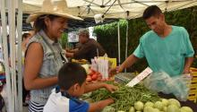 Carmen Hernandez (r.), seen with her son Alexander Rodriguez, at a farmers' market in Los Angeles on July 27, 2017, where they benefit from the FVRx (Fruit and Vegetables Prescription program) that provides fruit and vegetables for people suffering health problems that stem from malnutrition. EFE/Ivan Mejia