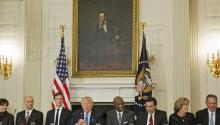 The president of the United States, Donald Trump, chairing a meeting of a business advisory council. Trump dissolved two of these councils on Aug. 16, 2017, after several chief executive officers quit over his remarks about last weekend's violence in Charlottesville, Virginia. EFE