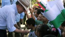 President Juan Manuel Santos greets children in Cocorna, Colombia, on Aug. 17, 2017. Santos expressed his hope to have removed anti-personnel mines from half the 20 square miles of territory contaminated with them by the end of his term in office in August 2018 and to make Colombia free of landmines by 2021. EFE/Mauricio Duenas Castaneda