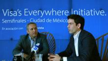 Visa Mexico Vice President Juan Carlos Guillermety (L) and senior director of Product Solutions and New Payment Enablers for Visa Latin America and the Caribbean, Allen Cueli (R), during an interview with Efe in Mexico City, Mexico, Aug. 24, 2017. EFE/Mario Guzman